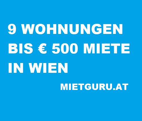 9 Wohnungen unter 500 Euro Miete pro Monat